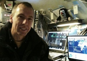 Andrew Feustel with the Little Mole on board the NASA shuttle simulator at Houston